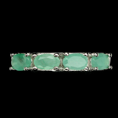 Oval Cut 5x3mm Top Rich Green Emerald 925 Sterling Silver Ring Size 6
