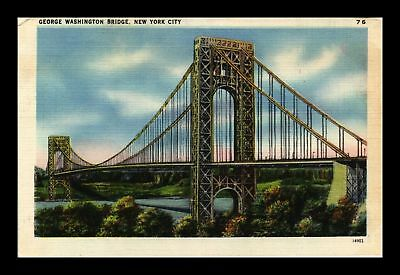 Dr Jim Stamps Us George Washington Bridge New York City Linen View Postcard