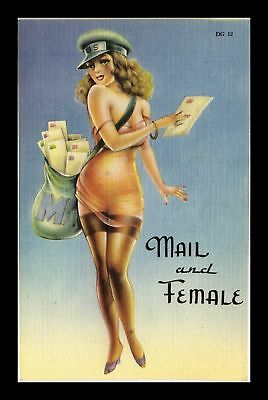 Dr Jim Stamps Us Pin Up Girl Mail And Female Linen Topical Postcard