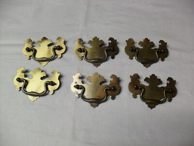 "6 Vintage Brass Chippendale Style Drawer Pulls 2 1/2"" Center To Center"