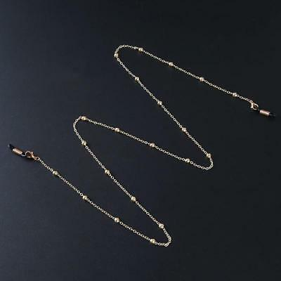 Gold Metal Beaded Eyeglass Chain Reading Glasses Spectacles Holder Necklace Y2