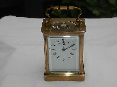 Quality Brass French Style  Carriage Clock Fully Working With Key Circa 1990