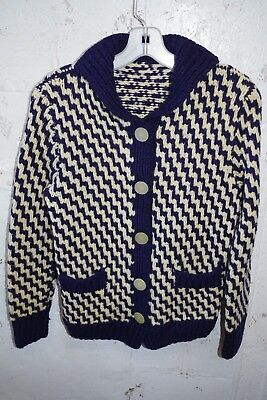 VTG 40s-50s Wool Geometric Chunky Hand Knit Cardigan Sweater Navy Blue & Ivory