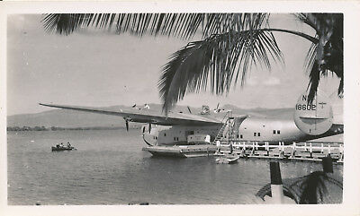 1930s Pan Am Clipper airplane Hawaii photo dockside NC18602  Pacific Clipper