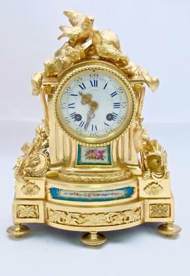 Antique French Mantle Clock Beautiful 1880's Bronze Ormolu 8 Day With Sevres