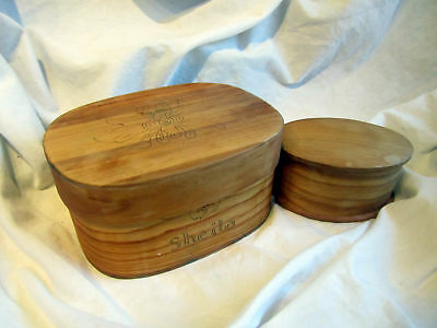 2 Charming Hand Made Oval Boxes