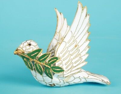 Cloisonne Handmade Carved Dove Statue Old Collection Gift Pendant