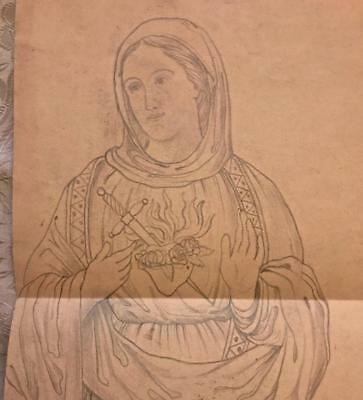 BEAUTIFUL 19th CENTURY FRENCH STAINED GLASS DESIGN DRAWING CARTOON, 14.