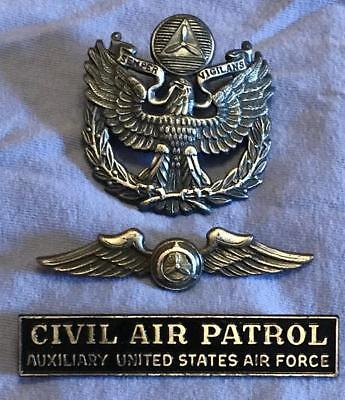 Lot of 3 US Civil Air Patrol Metal Badges