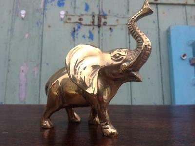 Vintage Mid Century Solid Brass Elephant Figurine With Trunk Up 50's Chic (500g)