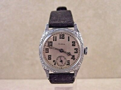 Vintage Sleda Swiss 6 Jewel Sleda Pure Nickel Case Art Deco Watch