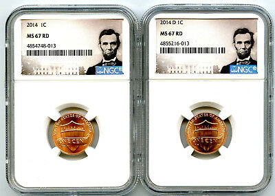 2014 P & D Cent Ngc Ms67 Union Shield 2 Coin Lincoln Label Set - You Get Both