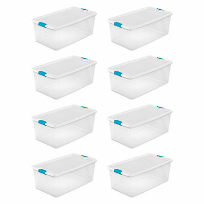 Sterilite 106-Qt. Clear Stackable Latching Storage Box Container, 8 Pack | 1499