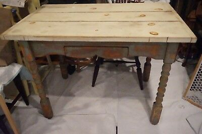 Vintage Rustic Farm Table With Drawer