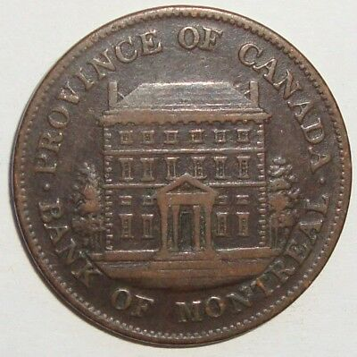 1844 Bank Of Montreal Half Penny Token Coin