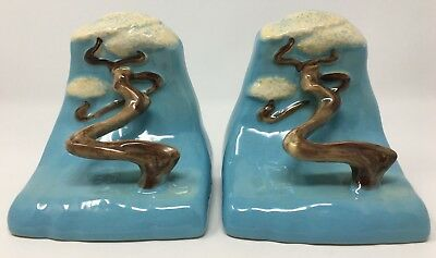 Vintage Roseville USA 559 Blue Ming Tree Pair Of Book Ends Pottery