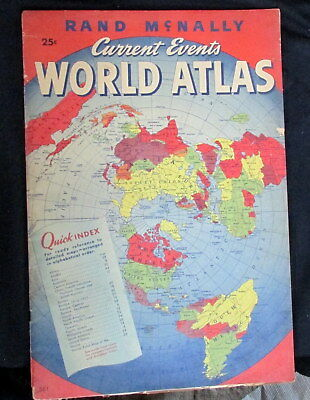 """1945 RAND McNALLY 11"""" x 16"""" CURRENT EVENTS WORLD ATLAS IN COLOR"""