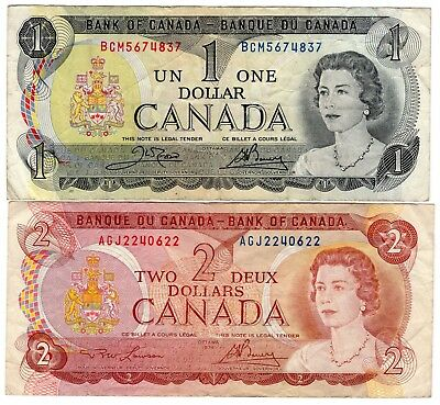 Lot Of 2 1973 1974 Bank Of Canada One 1 And Two 2 Dollar Bank Notes