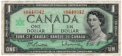 1967 Bank Of Canada One 1 Dollar Centennial Bank Note Lo 9440342 Nice Bill