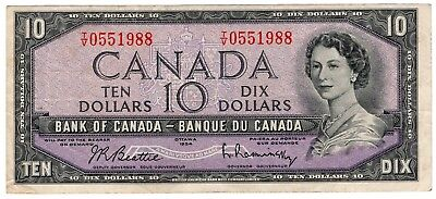 1954 Bank Of Canada Ten 10 Dollar Bank Note Tv 0551988 Nice Bill
