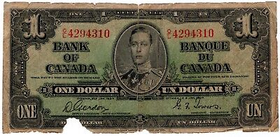 1937 Bank Of Canada One 1 Dollar Bank Note Ol 4294310 Nice Bill