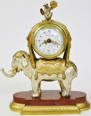 Rare Antique 19thc French 8 Day Ormolu & Silvered Elephant & Monkey Mantle Clock