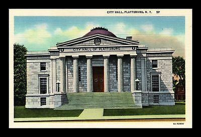 Dr Jim Stamps Us City Hall Plattsburg New York Linen View Postcard