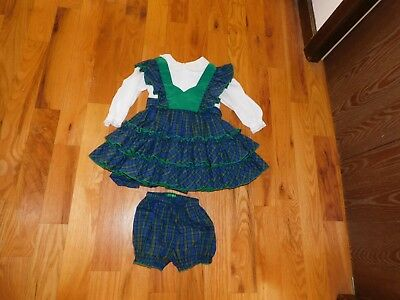 Handmade Green Plaid Pinafore Style Toddler Dress w/ Matching Diaper Cover