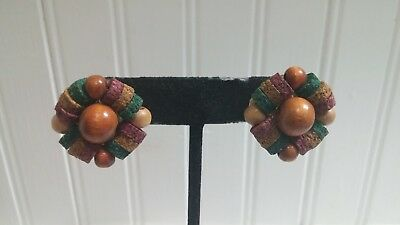 West Germany Brasstone Metal Colored Cork Wood Bead Cluster Clip-On Earrings