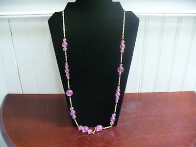 """Vintage J Crew Goldtone Metal Round Pink Frosted Glass Bead 31.5"""" Necklace"""