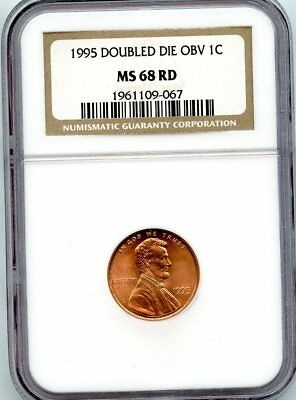 Avc- 1995 Double Die Obverse Lincoln Memorial Cent Ngc Ms68 Red