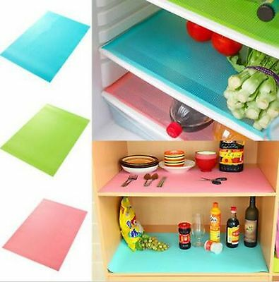 UK 4pcs Easy Clean Kitchen Antibacterial Cabinet Pad Anti Slip Fridge Liner Mat