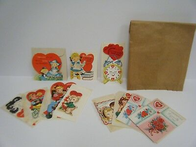 Vintage Valentine's Day Cards with Envelopes 1961 Used Classroom Exchange Lot of