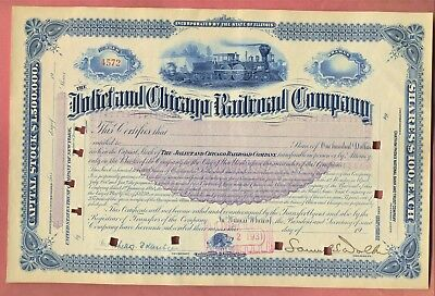 1931 Joliet and Chicago Railroad Company Stock Certificate
