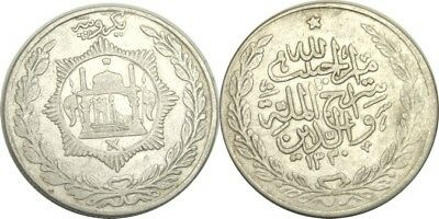 elf Afghanistan 1 Rupee AH 1330  AD 1912  Silver  World War I