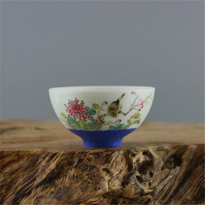 China Antique QING QianLong pastel hand painted flower bird cup bowl BLUE