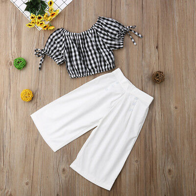 Fashion 2PCS Toddler Kids Baby Girls Clothes T-shirt Tops Wide Leg Pants Outfits