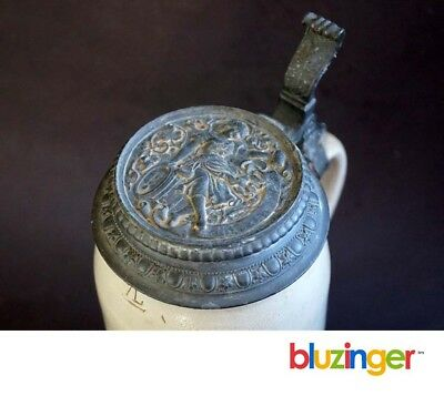 19thc German Stoneware Beer Stein w/ Relief Decorated Pewter Lid 1L