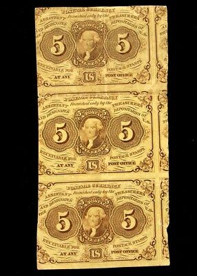FR. 1230 1st Issue (1862-63) 5 Cent Postage Currency US Fractional Strip of 3