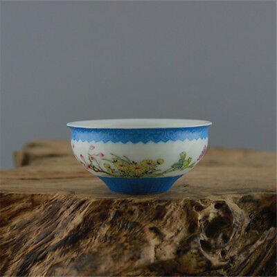 China OLD porcelain QING QianLong pastel hand painted flower bird cup blue