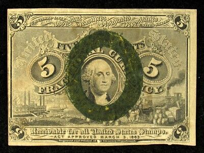 FR# 1233 2nd Issue (1863-1867) 5 Cent US Fractional Note - Net VF