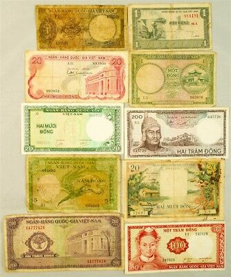 Lot of 10 South Vietnam Notes 1950s to 1960s - AVG Circ or better