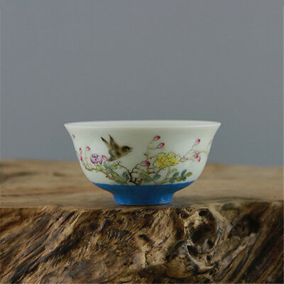 China OLD porcelain QING QianLong pastel hand painted flower bird cup blue A2