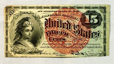FR. 1269 4th Issue (1869-1874) 15 Cent US Fractional Currency w/ Violet Fibers
