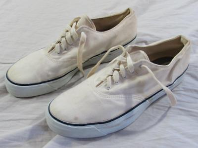 Vtg 60s 70s Sperry Top Sider Skid Grip USA Made White Canvas Shoes Tennis Sz 8 W