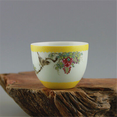 China Antique porcelain QING QianLong pastel hand painted flower bird cup YELLOW