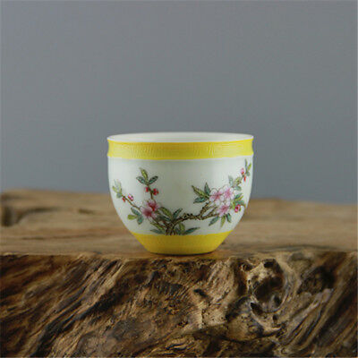 China Antique porcelain QING QianLong pastel hand painted flower cup YELLOW