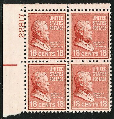 Dr Jim Stamps Us Scott 823 18C Grant Plate Block Unused Og Nh No Reserve