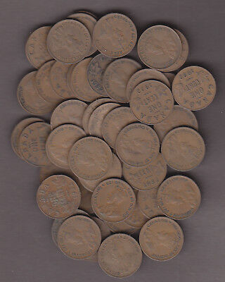 L@@K Dealer Lot ~ 1932 Roll Canadian Small Cents (50 coins) ~ VG/F+ Condition!