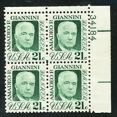 Dr Jim Stamps Us Scott 1400 Amadeo Giannini Plate Block Og Nh No Reserve